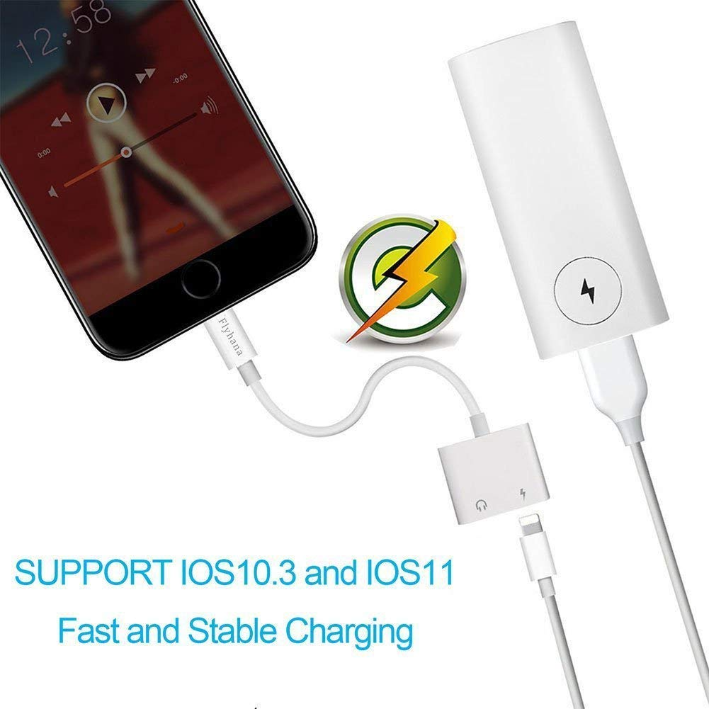 iPhone Dongle iPhone 7 Adapter Headphone Jack Adapter Charge and Listen No Calling and Music Control Compatible with IOS10.3 and IOS11 (White)