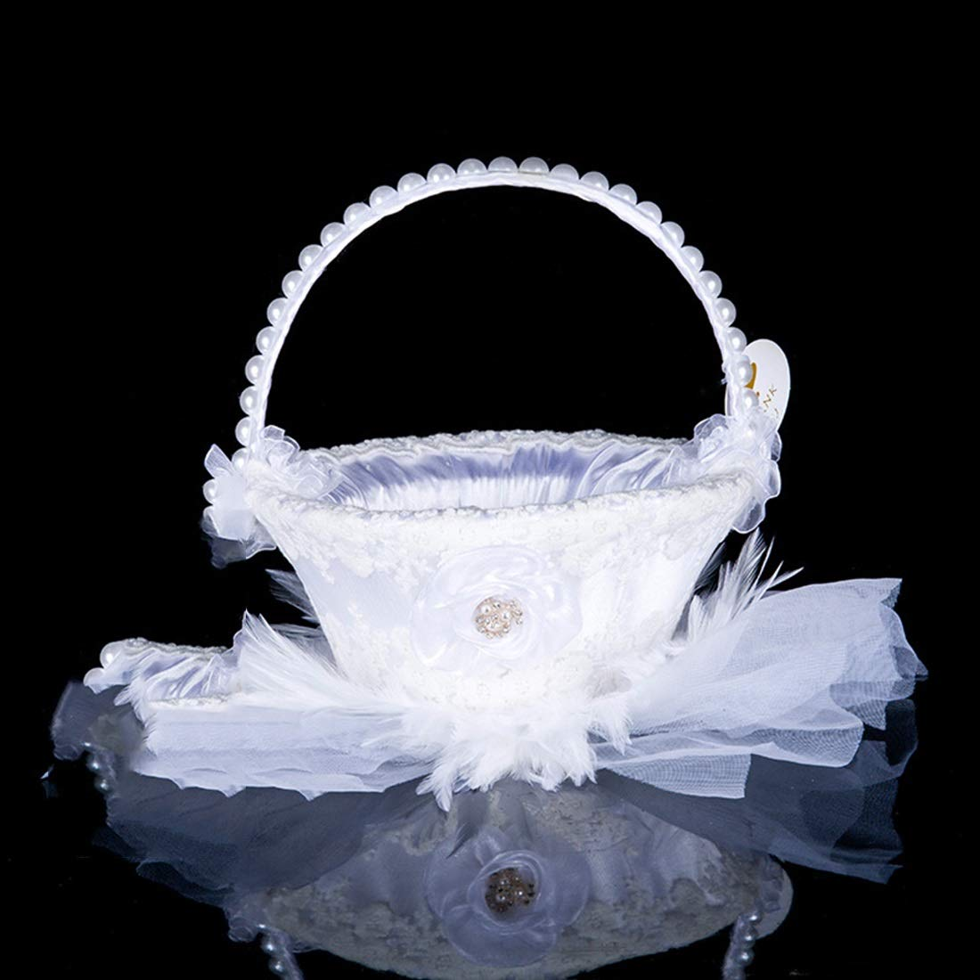 Carriemeow Elegant Lace Wedding Flower Girl Basket White (Color : White)