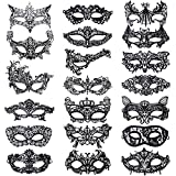 Aneco 20 Pieces Lace Mask Masquerade Venetian Eyemask Sexy Eye Mask Black Lace Halloween Woman Mask for Carnival Party Costume Ball
