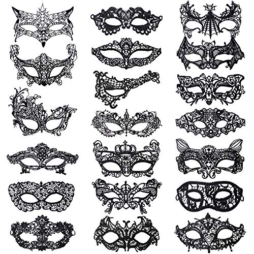 Aneco 20 Pieces Lace Masquerade Mask Black Venetian Eyemask Sexy Lace Eye Mask Lace Halloween Mask Carnival Party Costume Ball Mysterious Mask