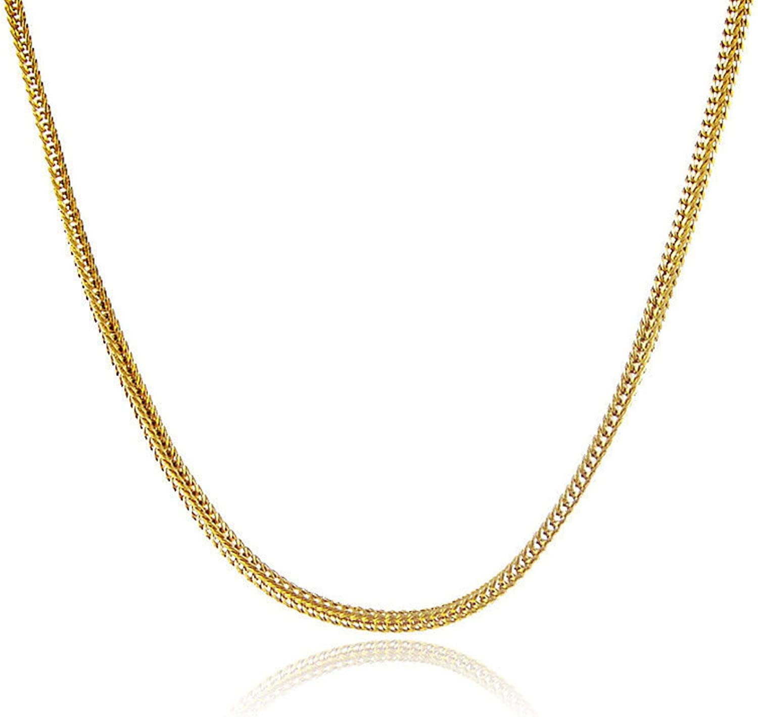 CS-DB Gold 24K Gold Plated Cubic Square Chain Men Women Necklace 2MM 18inch Cool