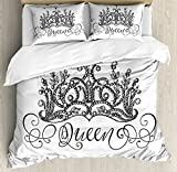 Queen Duvet Cover Set Queen Size by Ambesonne, Hand Drawn Crown with Queen Lettering Baroque Style Ancient Elements Calligraphy, Decorative 3 Piece Bedding Set with 2 Pillow Shams, Black and White