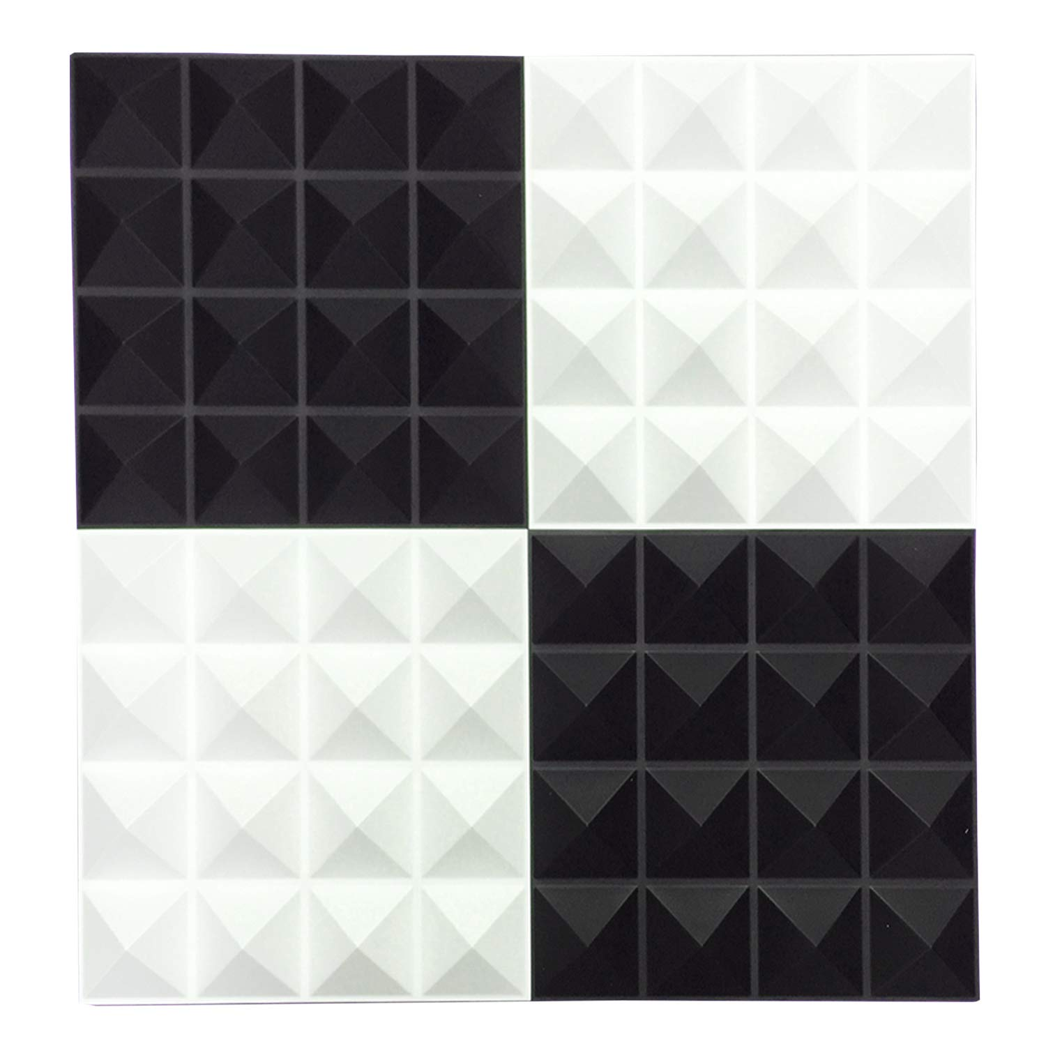 TroyStudio Acoustic Sound Diffuser Panel - Multiple Colors, 12'' X 12'' X 1'', PACK of 4 (White) by TroyStudio (Image #3)
