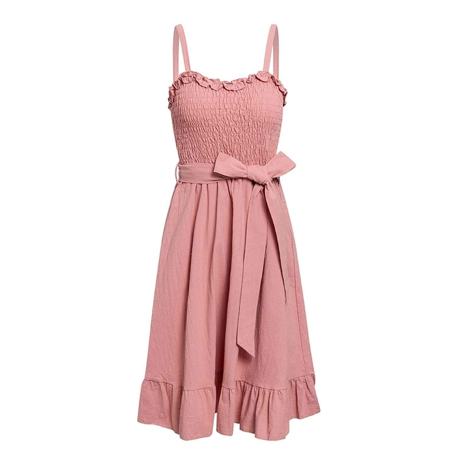 Pink Sleeveless Ruffle Elegant Dress Women Ruched Sashes Bow Cotton Summer midi Dresses Sexy Solid Female Pink