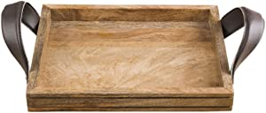 Rusticity Wooden Serving Tray for Dining/Breakfast/Coffee Table - Rexine Leather Handle - Medium | Handmade | (10x8 in)