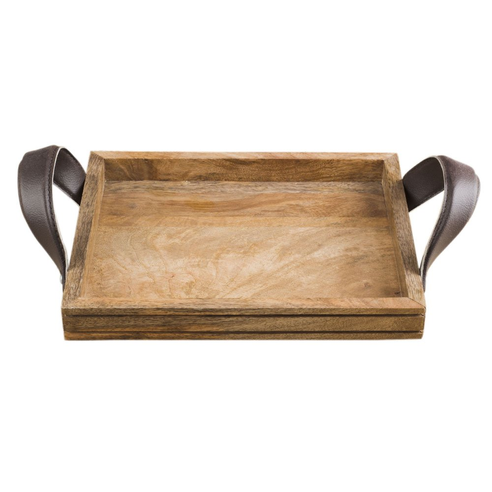 Rusticity Wooden Serving Tray for Dining/Breakfast / Coffee Table - Leather Handle - Medium | Handmade | (10x8 in)