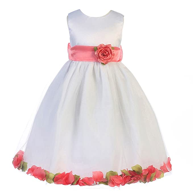 9573cd33136 Amazon.com  Crayon Kids Big Girls White Coral Petal Flower Girl ...