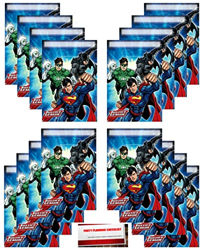 Justice League 16 Pack Party Plastic Loot Treat Candy Favor Bags (Plus Party Planning Checklist by Mikes Super Store) -