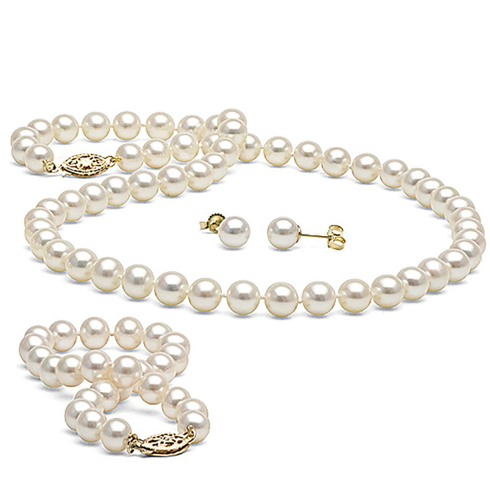14K Cultured White Freshwater Pearl 3-Piece Jewelry Set, 6.0-7.0mm - AA+ Quality, 18-Inch Necklace, Yellow Gold