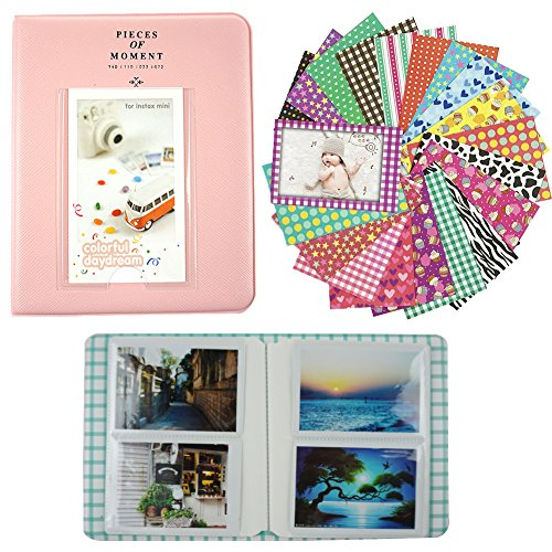 Alohallo 64 Pockets Photo Album/20 Psc Stickers for Fujifilm Polaroid Instant Photo Film & Name Card (Pink) (90s Halloween Films)