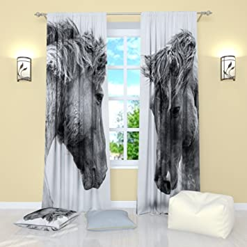 Horse Curtains For Bedroom.Factory4me Black And White Curtains By Horses Window Curtain Set Of 2 Panels Each W42 X L84 Total W84 X L84 Inches Drapes For Living Room Bedroom