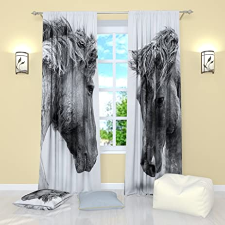 Black And White Curtains By Factory4me Horses. Window Treatment Curtain  Panel (Set Of 2