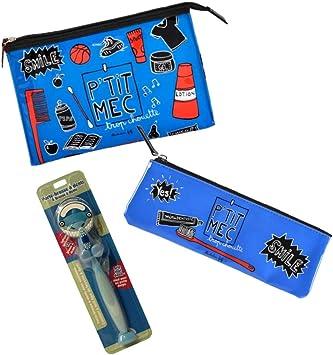 Dlp Ptit MEC – Estuche de Viaje para niño pequeño, Neceser para Cepillo de Dientes y Cepillo de Dientes con Soporte para Tienda, Color Azul: Amazon.es: Equipaje
