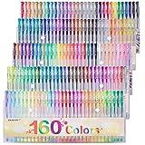 Gel Pens Colors Set, Reaeon 160 Unique Colored Gel Pen for Adults Coloring Books Drawing Art Markers