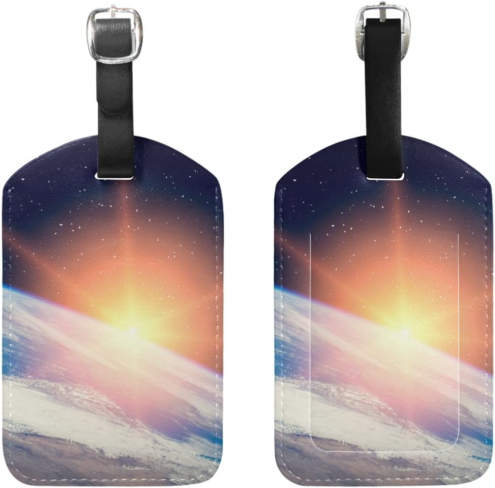 Chen Miranda Wonderful Sunrise Elements Luggage Tag PU Leather Travel Suitcase Label ID Tag Baggage claim tag for Trolley case Kids Bag 1 Piece