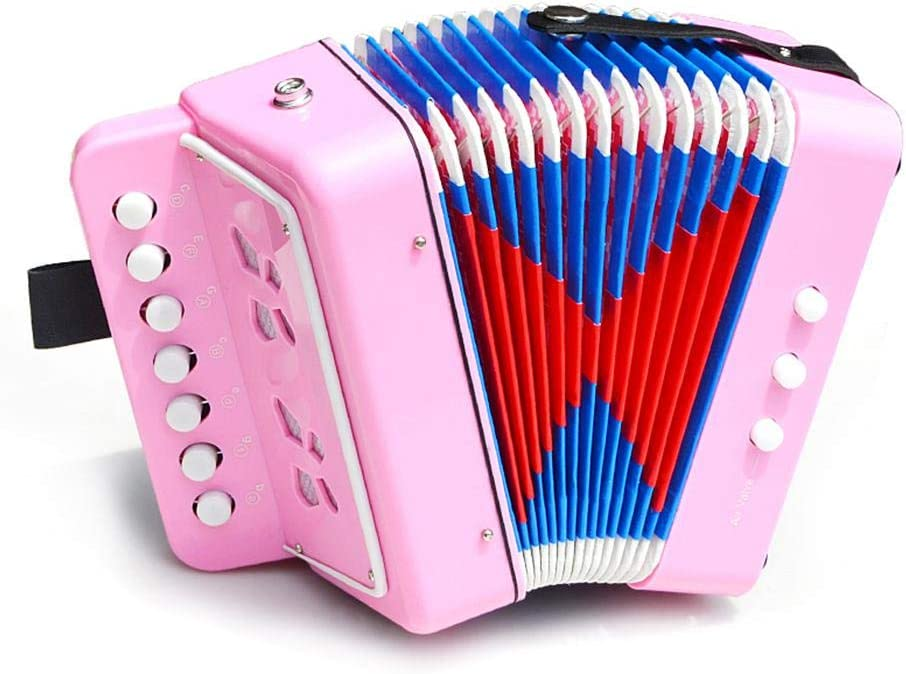 Volwco Kids Mini Accordion,7 Key 2 Bass Solo Ensemble Toy Accordion Instrument for Toddlers Early Childhood Teaching Beginner