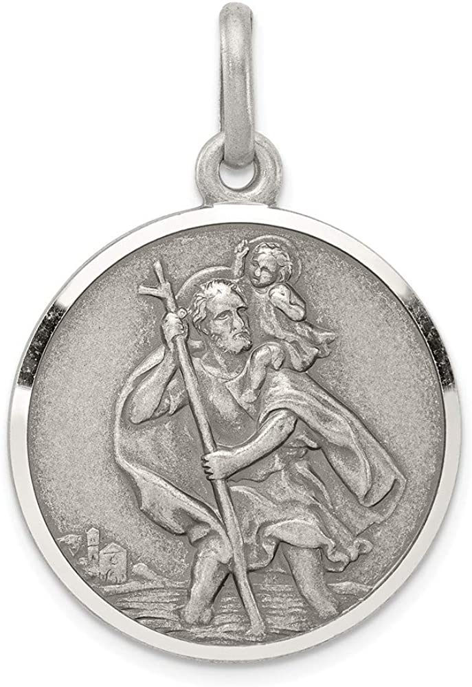 FB Jewels Solid 925 Sterling Silver Antiqued St Christopher Medal