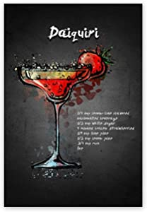 "Cocktails Canvas Art Paintings Daiquiri Alcoholic Beverage Poster Wall Art Canvas Print Framed Prints for Kids Room Bedroom Home Decoration Gift 16""x24"""