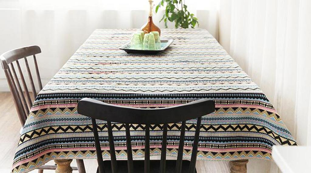 D 100160cm personality HETAO Linen Tablecloth Striped Tablecloth Bohemian style for dining table House Suitable For The Restaurant Cafe Hotel bar , 140180cm , A decoration
