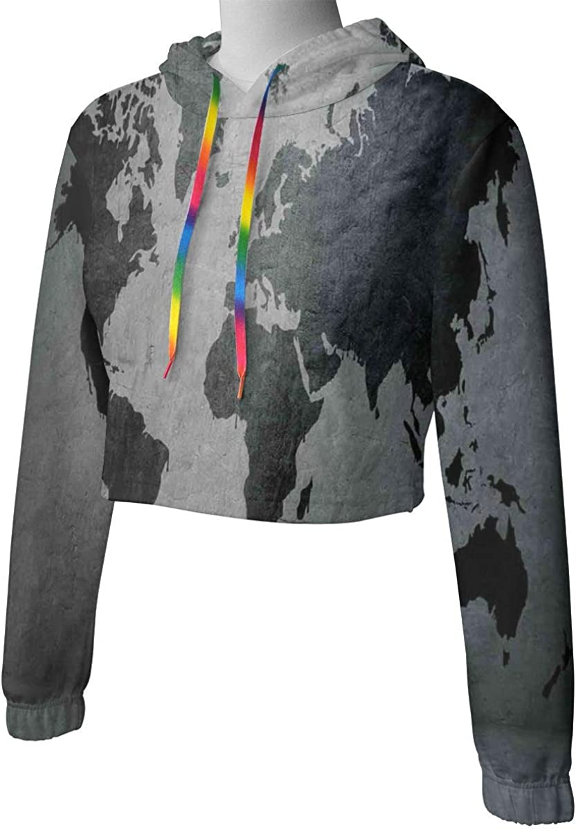 Womens Cropped Hoodie,Smiling Little Girl Holding an Umbrella in The Windy Autumn Season Fallen Leaves,S-XL