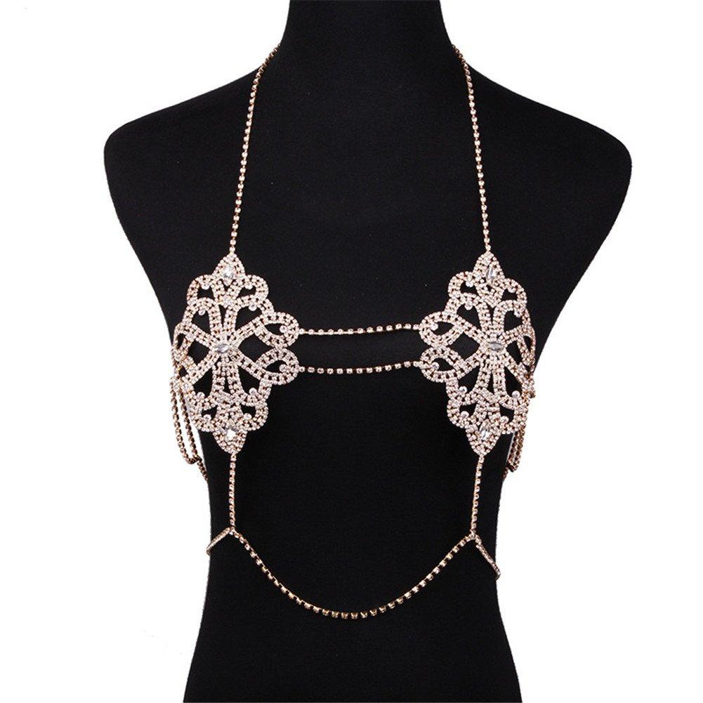 NABROJ Gorgeous Gold Body Chain, Sexy Rhinestone Bralette Bikini Bra Accessories Beach Party Body Jewelry 1Pc-STL05 Gold