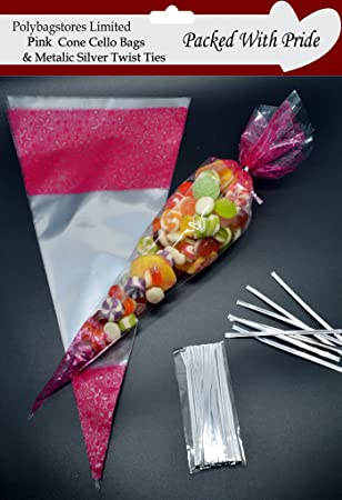 "50 RED Cone Cellophane Sweet Party Bags With 4/"" Silver Twist Ties"