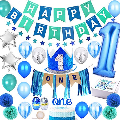 FunDeco Party 1st Birthday Boy Decorations 'Mega Set' | High Chair Decoration, First Bday Royal Boys Crown Hat, Happy Birthday Banner, ONE Cake Topper, Confetti, Marble, Foil and Latex Balloons, Star Bunting, Pom Poms and More Decor Supplies | Blue Silver Sea Green Theme