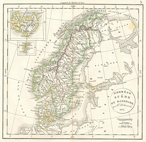 Historic Map | Delamarche Antique Map of Scandinavia: Sweden, Norway, Denmark, 1831 | Historical Antique Vintage Decor Poster Wall Art | 24in x 24in