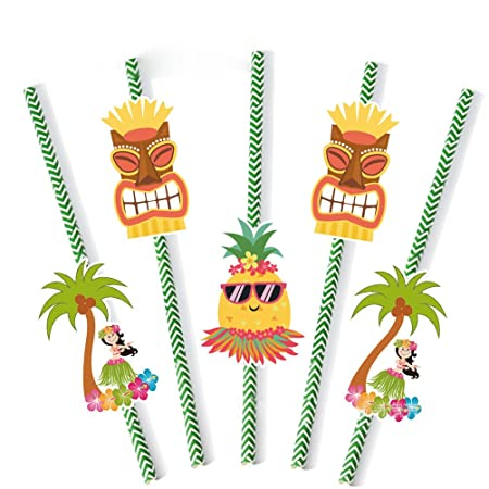 10 Stück Hawaiian tropische Früchte Trinkhalme mit Papierkarten