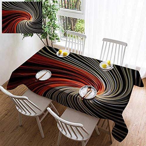 HOOMORE Simple Color Cotton Linen Tablecloth,Washable, Abstract Light Twirl Decorating Restaurant - Kitchen School Coffee Shop Rectangular 140×60in