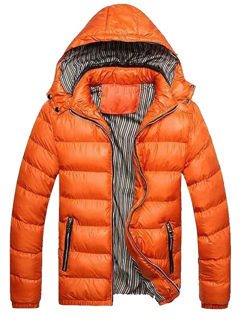 Generic Mens Solid Thick Packable Slim Qulited Cotton Down Jacket Coat