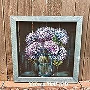 Gramma Patty hydrangeas, Hydrangeas, mason jar and hydrangeas, original, hand painted, Original by Rebeca Flot