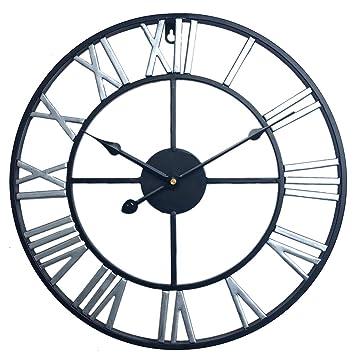 c431b98fc634c BANDRA Grande Horloge Murale Décorative Vintage 40CM 3D Horloge Murales  Silencieuse Chiffres Romains Métal Horloge Murale
