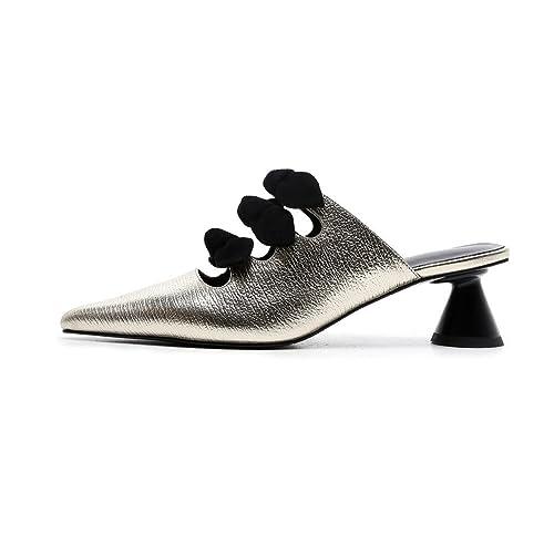 808135c3d62 Nine Seven Women's Fashion Cone Heel Mules Shoes, Comfort Handmade Bow  Slides Pumps