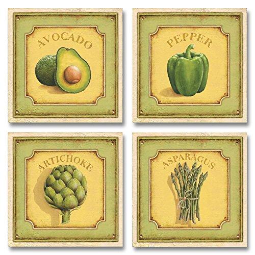 Trendy Vintage Produce Signs; Avocado Asparagus Artichoke