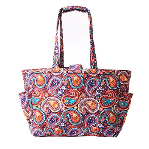 Floral Quilted Cotton Needle Bag Knitting Bag Yarn Storage Tote (Purple Paisley) by MAGOU (Image #2)