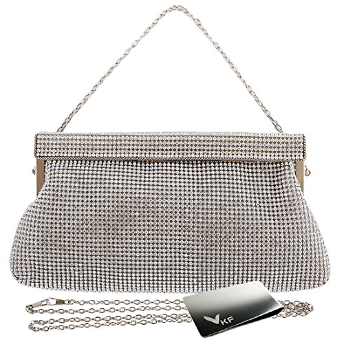 kilofly Women's Crystal Evening Bag Cocktail Clutch Purse Handbag + Money Clip (Envelope Style Convertible Clutch)