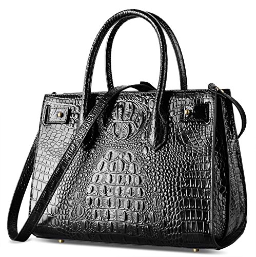 PIFUREN Women's Large Top Handle Satchel Handbag Crocodile Shoulder Bag Purse C68738(Black)