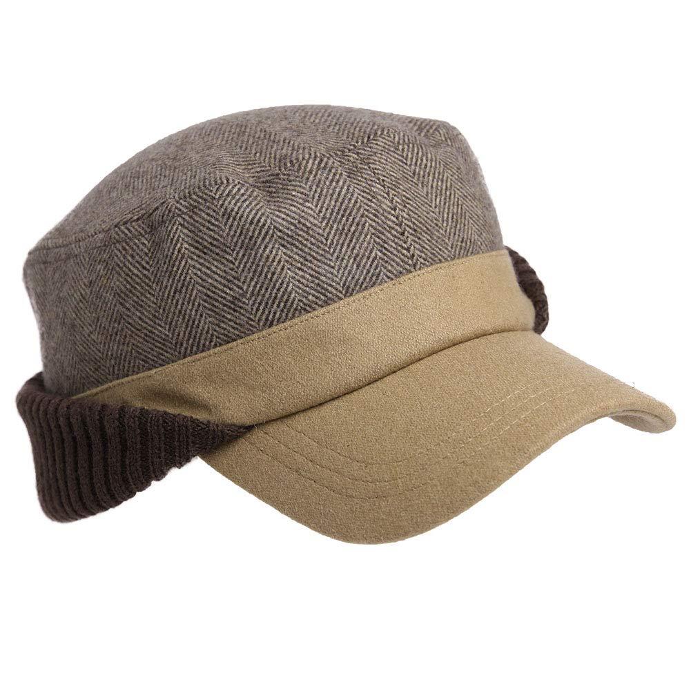 Men 42% Wool Elmer Fudd Fitted Hunting Military 24'' Large Head Women Winter Baseball Cap Earflaps Eermuffs Khaki 59-61cm by Fancet