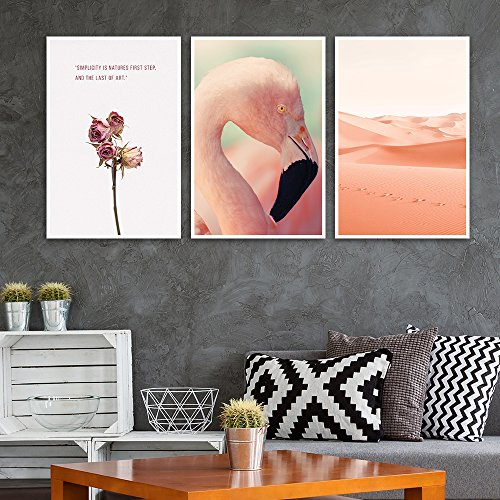 3 Panel Pink Flamingo Desert and Flower with Quotes x 3 Panels