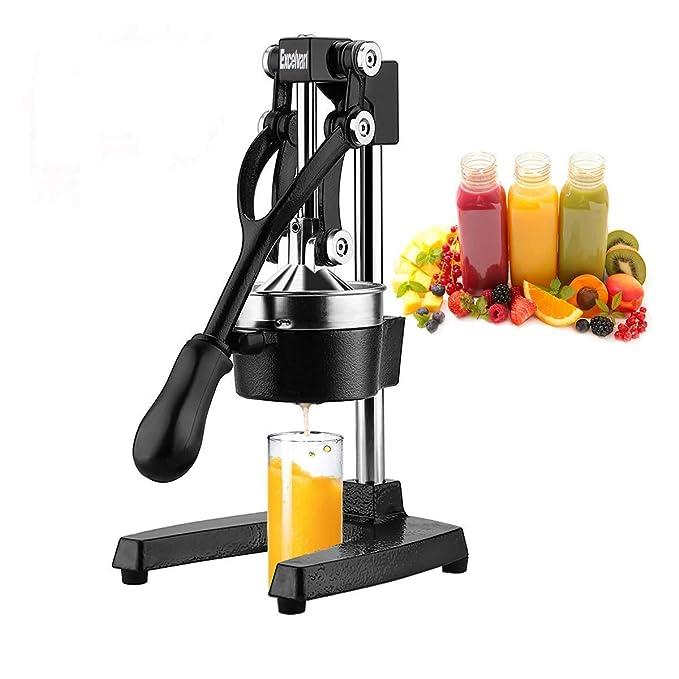 Excelvan mano prensa exprimidor de cítricos comercial Pro Manual fruta fresca Squeeze con embudo de acero inoxidable, color negro: Amazon.es: Hogar