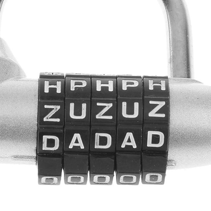 Sharplace Candado de Aleación de Zinc 5 Letras de Marcado Combinación Código para Taquillas del Gimnasio,Maleta de Equipaje, etc - Plata: Amazon.es: ...