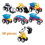 O-Toys 38pcs Car Magnet Toys Kids Building Blocks