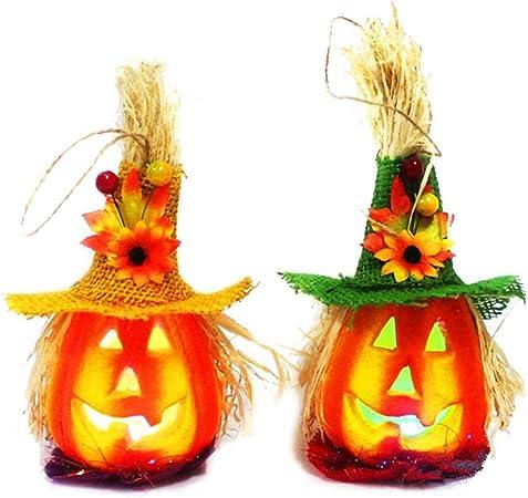 Canjerusof Pack De 2 Luz Linda De Halloween Jack hasta Calabaza Intermitente Linterna Decorativo De La Espuma Props ...