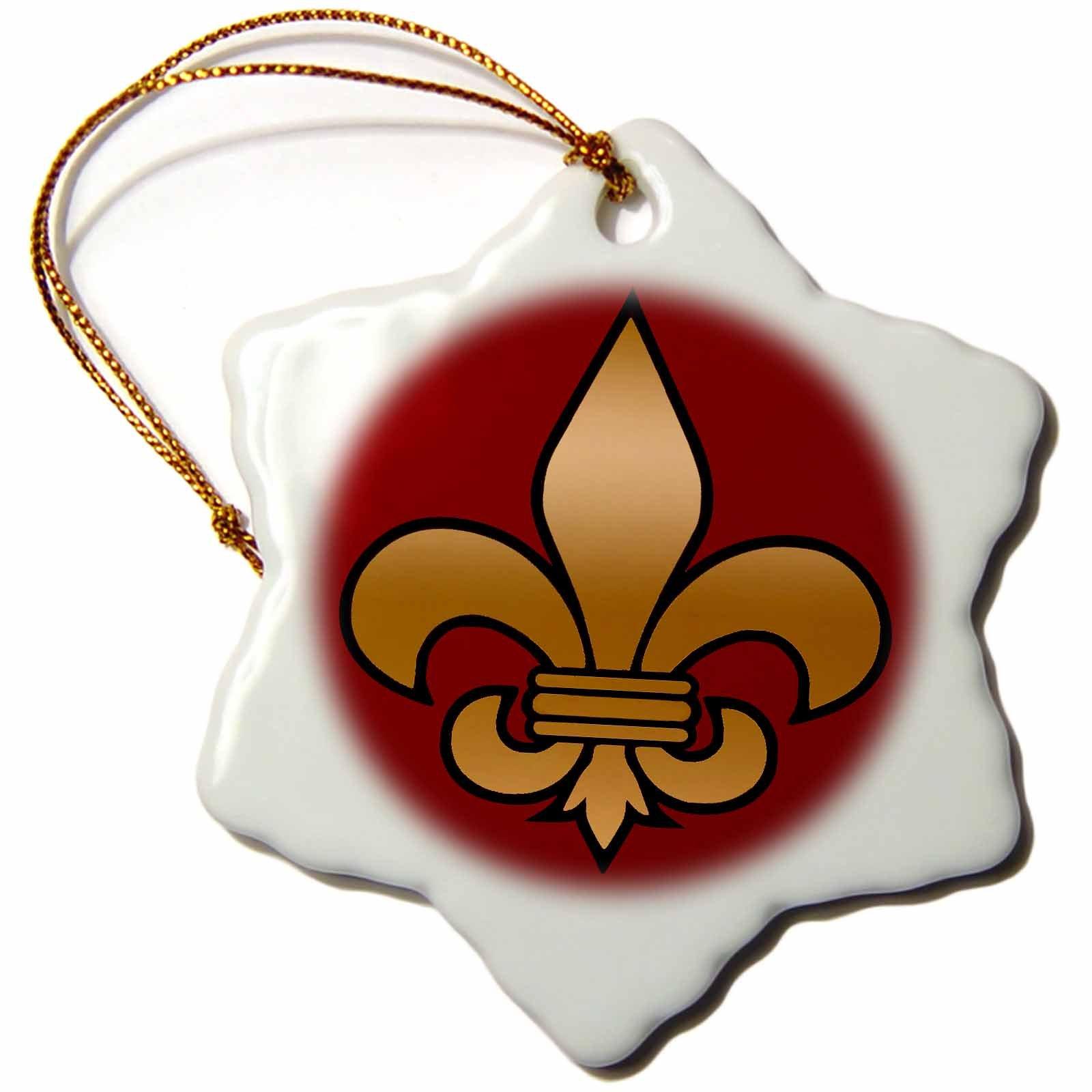3dRose Large Black and Gold Fleur De Lis on Maroon Background Christian Symbol Snowflake Ornament, 3''