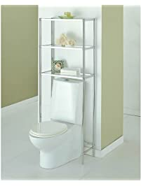 bathroom shelf over toilet. Over The Toilet 16951W 1 Bathroom Spacesaver with 3 Handy Tempered Glass  Shelves in Shiny the Storage Amazon com