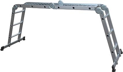 ausgeklappt HxB 360x80 cm mit Plattform 4x3 Sprossen silber Alu Gelenkleiter verstellbar Relaxdays Mehrzweckleiter