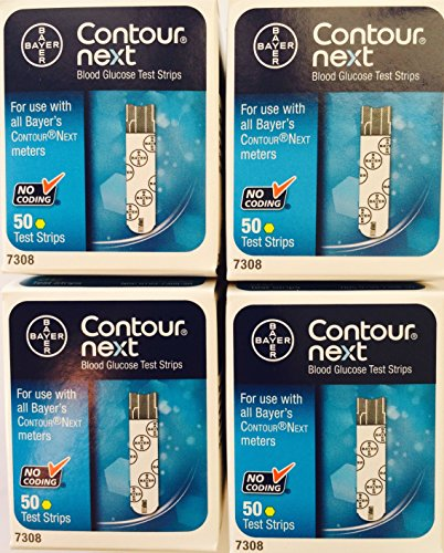 Bayer Contour Next Test Strips - Pack of 4 = 200 Strips (Diabetic Test Strips Bayer)