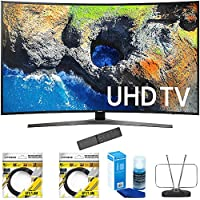 Samsung 65 Curved 4K Ultra HD Smart LED TV 2017 Model (UN65MU7500FXZA) with 2x 6ft High Speed HDMI Cable Black, Universal Screen Cleaner for LED TVs & Durable HDTV and FM Antenna