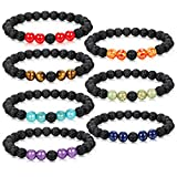 Adramata Aromatherapy Chakra Bracelets for Men Women Oil Diffuser Anxiety Bracelet Set